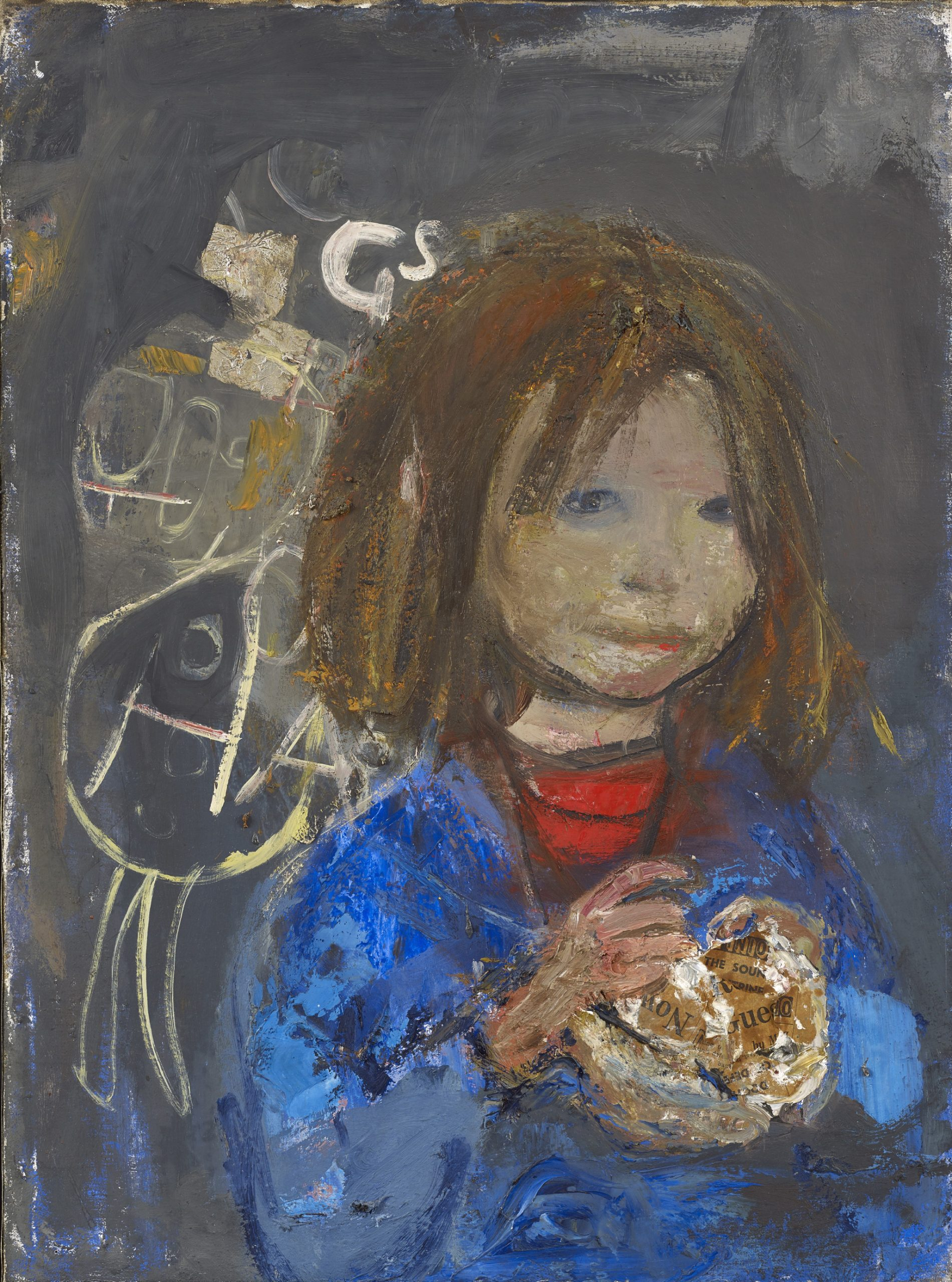 Girl with a Poke of Chips, oil on canvas with newspaper.