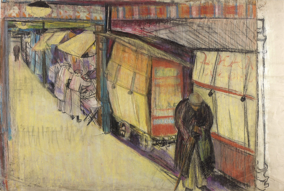 Joan Eardley, Covered Market, Glasgow, c1945-1949, The Glasgow School of Art - Archives and Collections.
