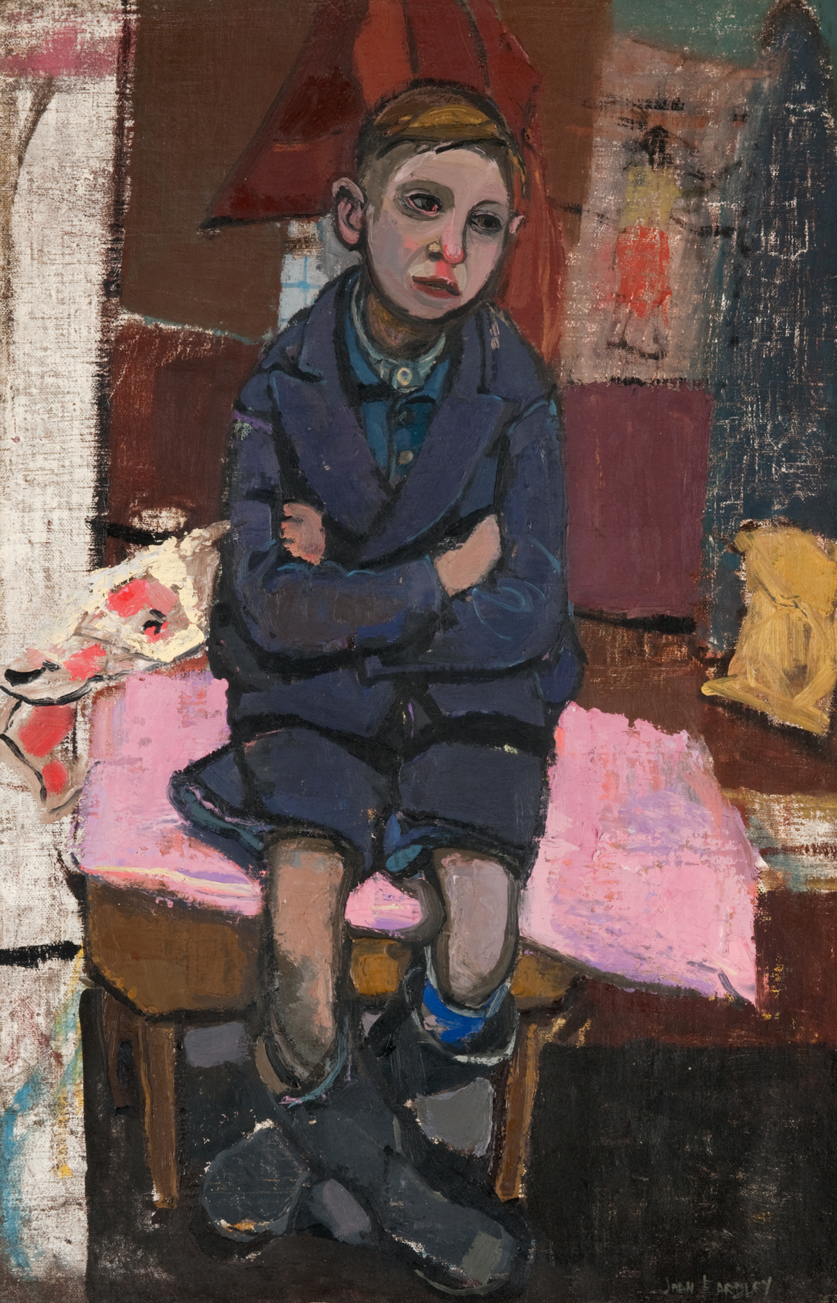Joan Eardley, Boy on Stool, oil on canvas, 910 x 590mm, copyright Eardley Estate, Paisley Museum and Art Galleries, held by Renfrewshire Leisure on behalf of Renfrewshire Council