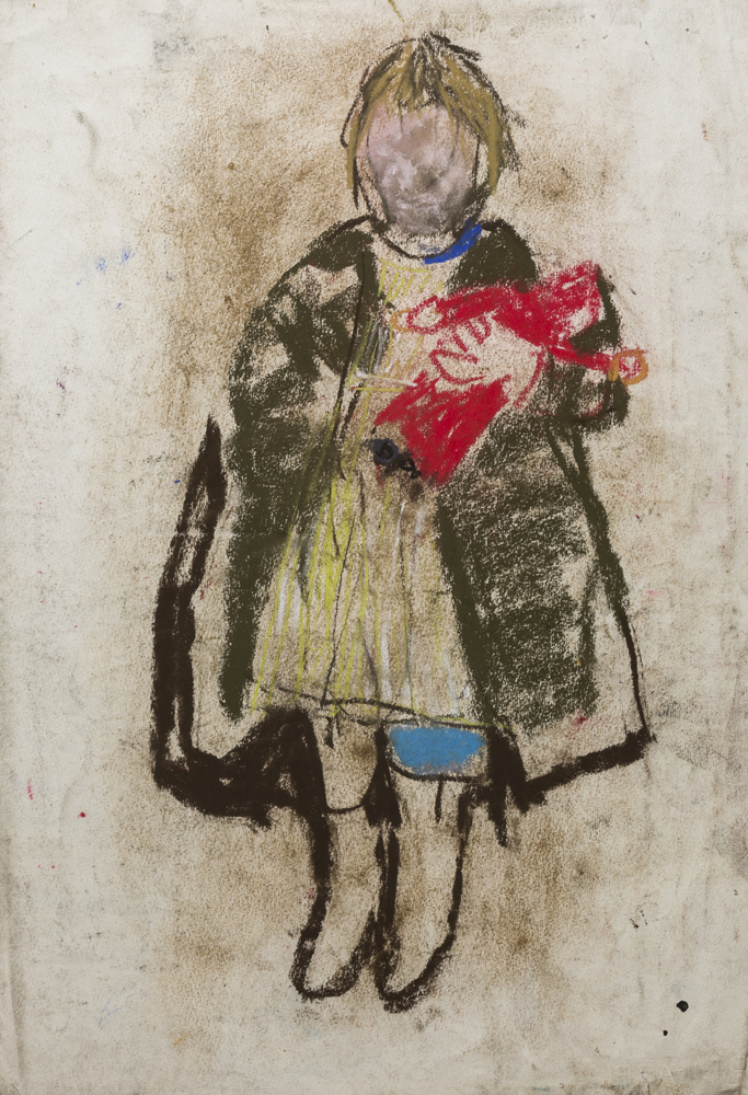 Joan Eardley RSA Child with Red Doll, 1950-1963 Pastel on paper Presented in 1987 by Mrs P M Black. ABDAG007907 © the Eardley estate. All rights reserved, DACS 2021. Photo credit: © Aberdeen City Council (Art Gallery & Museums Collections).