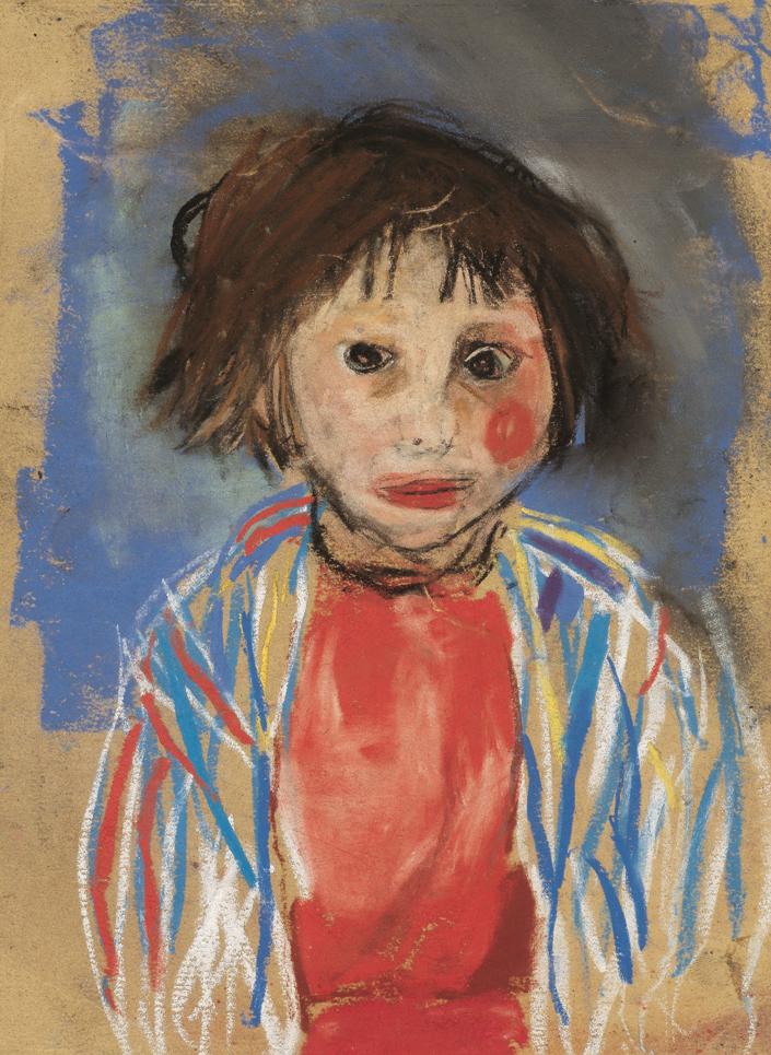 Joan Eardley, Girl in a Striped Cardigan, pastel on glass paper, 22.2 x 16.5cm. City Art Centre, Museums & Galleries Edinburgh. © Joan Eardley Estate